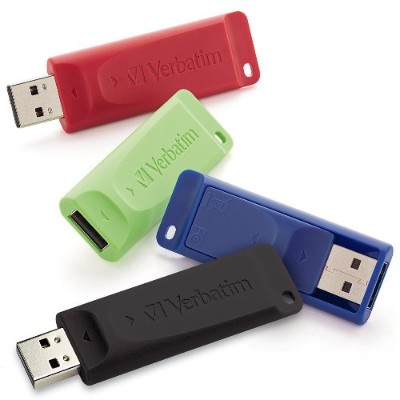 Verbatim 99123 16GB Store 'n Go USB 2.0 Flash Drive - Retractable Design - Pack of 4 - Assorted Colors
