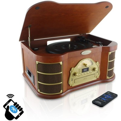 Pyle PTCD54UB Bluetooth Vintage Style Turntable with AM/FM Radio  CD & Cassette Players  USB Flash Recording & Slide-Out iPod/MP3 Dock