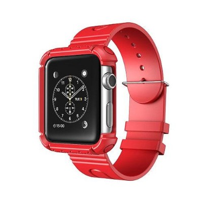 i-Blason APPLEWATCH-42-RG-RD 42mm Rugged Protective Case with Wristband for Apple Watch - Red