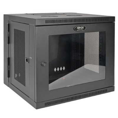 TrippLite SRW10USG 10U Wall Mount Rack Enclosure Cabinet Wallmount Clear Acrylic Window Hinged 200lb Cap