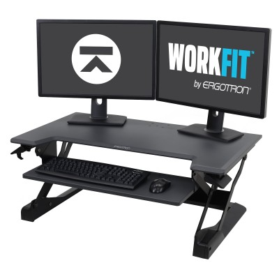 Ergotron 33-406-085 WorkFit-TL  Sit-Stand Desktop Workstation - Black with Grey Surface