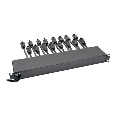 TrippLite PS1916D1U Rack Mount AC Charger Power Strip 16 outlets 15 ' cord 1U - Power strip (rack-mountable) - 15 A - AC 100/110/115/120/127 V - input: NEMA 5-1