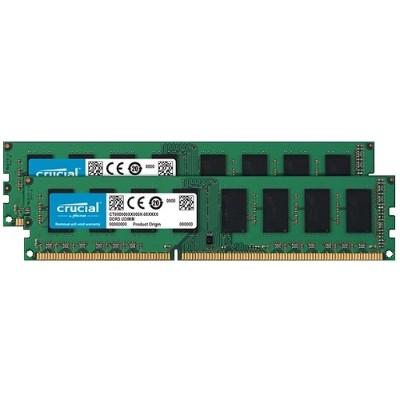 Crucial 16GB kit (8GBx2) DDR3 PC3-12800  CL=11  Unbuffered  NON-ECC  DDR3-1600  1.35V  1024Meg x 64.
