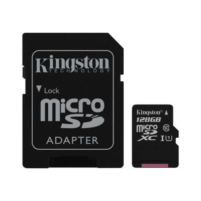 Kingston Digital SDC10G2/128GB 128GB microSDXC Class 10 UHS-I 45MB/s Read Card + SD Adapter