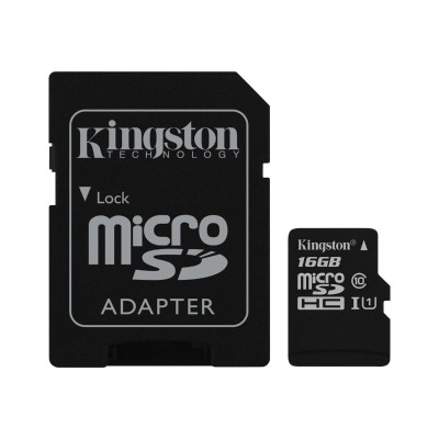 Kingston Digital SDC10G2/16GB 16GB microSDHC Class 10 UHS-I 45MB/s Read Card + SD Adapter