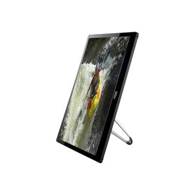 AOC E1659FWUX E1659FWUX-PRO - LED monitor - 15.6 - portable - 1920 x 1080 Full HD (1080p) - 300 cd/m² - 500:1 - 11 ms - USB - glossy black