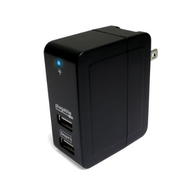 Plugable USB-C2W USB 2-Port Smart Travel Charger - Folds Up Small - Charge up to 2 devices at up to 2.4A per port - Up to 20 watts  4A to share across both port