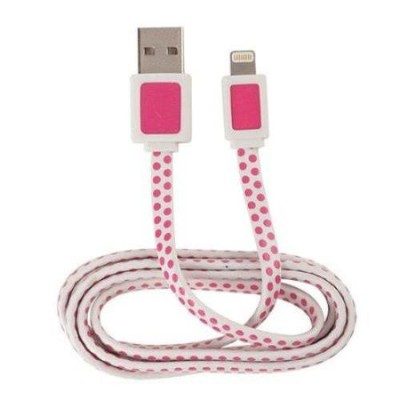 Jensen Electronics ARH750PD Apple Lightning 3 ft Power and Sync Cable - Pink Polka Dot