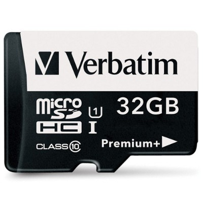 Verbatim 98741 32GB PremiumPlus 533X microSDHC Memory Card with Adapter  UHS-I Class 10
