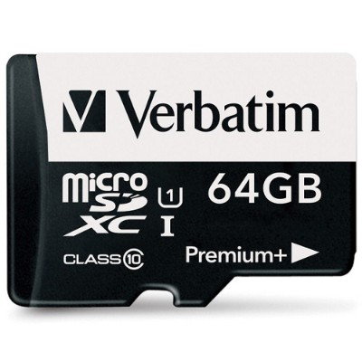 Verbatim 98742 64GB PremiumPlus 533X microSDXC Memory Card with Adapter  UHS-I Class 10