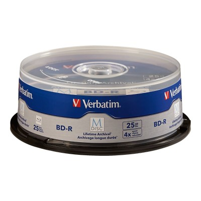 Verbatim 98909 M-Disc BD-R 25GB 4X with Branded Surface – 25pk Spindle