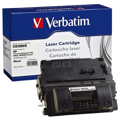 Verbatim 99224 Black Remanufactured Toner Cartridge Replacement for HP CE390X for use with HP LaserJet Enterprise 600 M602  600 M603  M4555