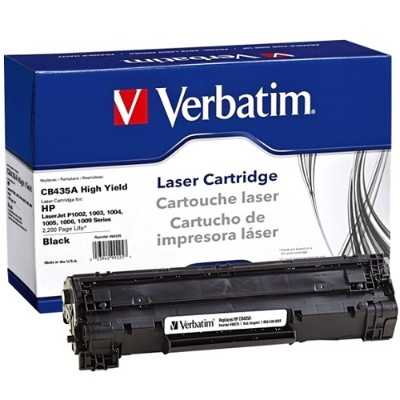 Verbatim 99225 High Yield Black Remanufactured Toner Cartridge Replacement for HP CB435A for use with HP LaserJet P1005  P1006  P1007  P1008  P1009