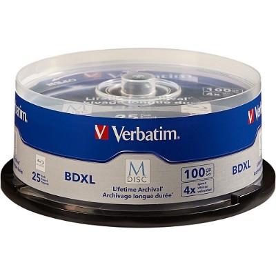 Verbatim 98914 M-Disc BDXL 100GB 4X with Branded Surface – 25pk Spindle