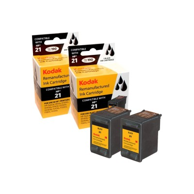 eReplacements C9508BN-KD Kodak 2-Pack High Yield Black Remanufactured Ink Cartridge Replacement for HP 21 for use with HP DeskJet 3930  3940  F390  psc 1410  14