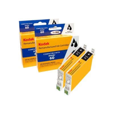 eReplacements T060120BK2-KD Kodak - 2-pack - High Yield - black - remanufactured - ink cartridge (equivalent to: Epson T0601) - for Epson Stylus C68  C88  C88+