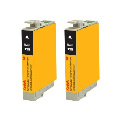 eReplacements T125120-D2-KD Kodak - 2-pack - High Yield - black - remanufactured - ink cartridge (equivalent to: Epson T125120) - for Epson Stylus NX230 Small-i