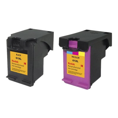 eReplacements CZ138FN-KD Kodak 2-Pack High Yield Black  triColor Remanufactured Ink Cartridge Replacement for HP 61XL for use with HP DeskJet 10XX  15XX  2050A