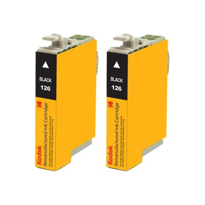 eReplacements T126120-D2-KD Kodak - 2-pack - High Yield - black - remanufactured - ink cartridge (equivalent to: Epson T126120) - for Epson Stylus NX330  NX430