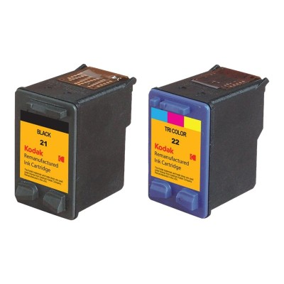 eReplacements C9509BN-KD Kodak 2-Pack High Yield Black  Color (Cyan  Magenta  Yellow) Remanufactured Ink Cartridge Replacement for HP 21  HP 22 for use with HP