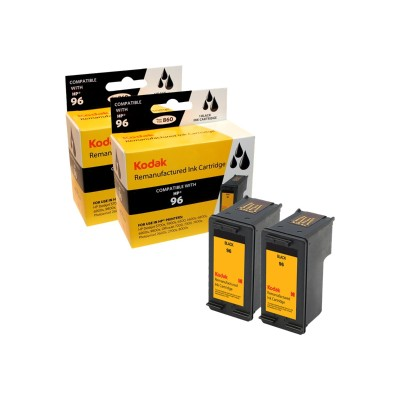eReplacements C9348FN-KD Kodak 2-Pack High Yield Black Remanufactured Ink Cartridge Replacement for HP 96 for use with HP DeskJet 69XX  Officejet 72XX  Photosma