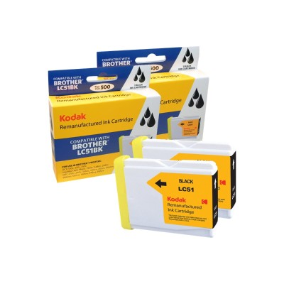eReplacements LC-51BK2PK-KD Kodak - 2-pack - High Yield - black - remanufactured - ink cartridge (equivalent to: Brother LC51BK) - for Brother DCP-130  330  350