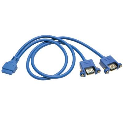 TrippLite U321-18N-20P-PM USB 3.0 2-Port Panel Adapter 20 Pin Motherboard IDC 2x USB-A - USB adapter - USB Type A (F) to 20 pin IDC (F) - USB 3.0 - 1.5 ft - mol