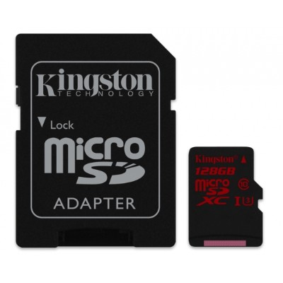 Kingston SDCA3/128GB 128GB microSDXC UHS-I Class U3 90MB/s read  80MB/s write + SD