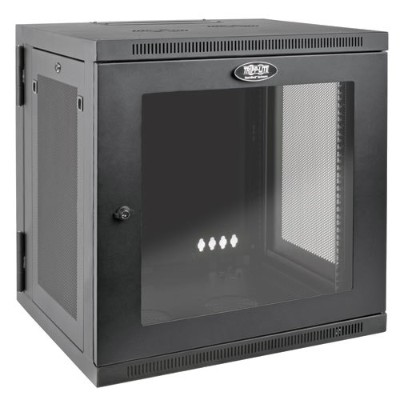 TrippLite SRW12USDPG 12U Wall Mount Rack Enclosure Cabinet Hinged Acrylic Window 24.5 Depth 200lb Capacity