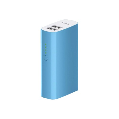 Belkin F8M979BTBLU MIXIT Power Pack 4000 - Power bank 4000 mAh - 2 output connectors (USB (power only)) - on cable: Micro-USB - blue