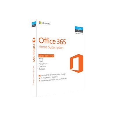 Microsoft 6GQ-00636 Office 365 Home - Box pack (1 year) - 5 phones  5 PCs/MACs  5 tablets - non-commercial - 32/64-bit  medialess  P2 - Win  Mac  Android  iOS