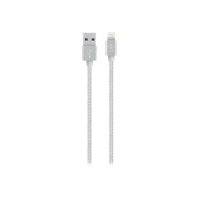 Belkin F8J144BT04-SLV MIXIT Metallic Lightning to USB Cable - Lightning cable - USB (M) to Lightning (M) - 4 ft - silver - for Apple iPad/iPhone/iPod (Lightning