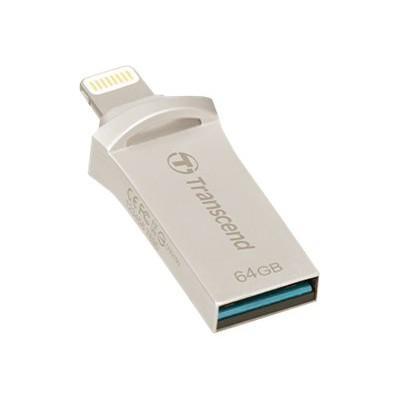 Transcend TS64GJDG500S JetDrive Go 500 - USB flash drive - 64 GB - USB 3.1 / Lightning - silver