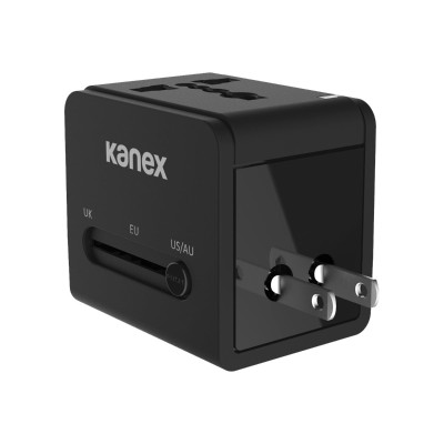 KANEX K160-1057-BK 4-in-1 International - Power adapter - 2.1 A - 2 output connectors (USB (power only)) - soft touch black