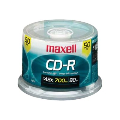 Maxell 648250 48x CD-R 700MB Data Storage Media - 50 Pack Spindle Case
