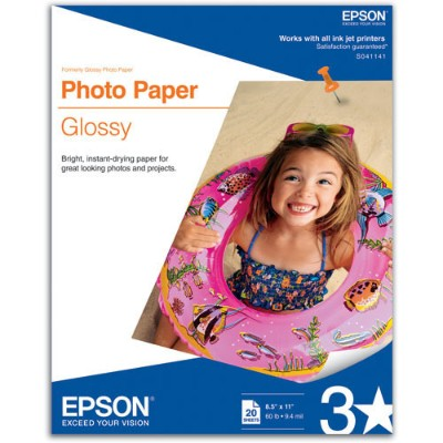 Epson S041141 8.5 x 11 inch Photo Paper Glossy - 20 Sheets