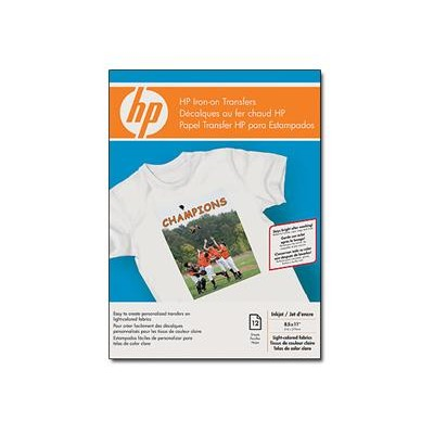 HP Inc. C6049A Iron-on Transfers for White and Light Color Fabrics - 8.5 x 11 in  12 sheets