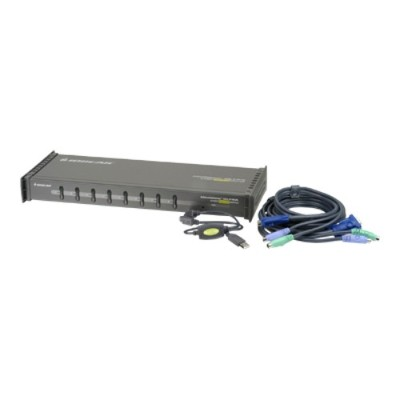 Iogear GCS138KITUP 8-Port KVM Switch PS/2 1U with 4-6ft & 4-10ft Cbls & 8-USB to PS/2 Adapters