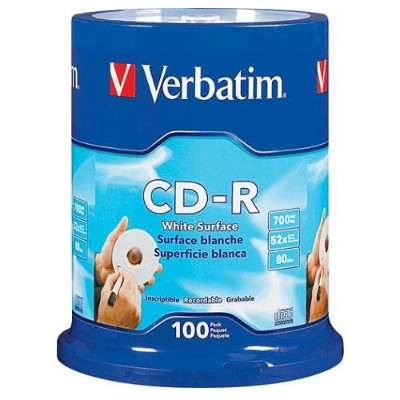 Verbatim 94712 CD-R 700MB 52X with Blank White Surface - 100pk Spindle
