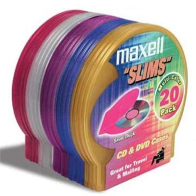 Maxell 190073 CD-355 Multi-Color Slim Jewel Cases - Pack of 20