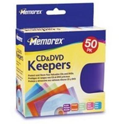 Memorex 01972 CD/DVD Keepers Assorted Colors (50-Pack)