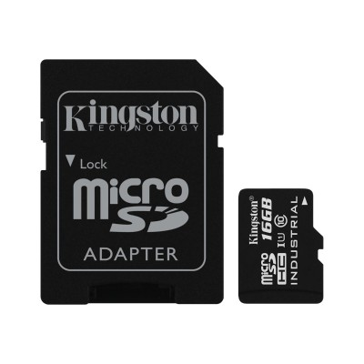 Kingston Digital SDCIT/16GB 16GB MICROSDHC UHS-I CLASS 10 INDUSTRIAL TEMP CARD + SD ADAPTER