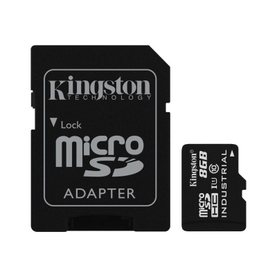 Kingston Digital SDCIT/8GB 8GB MICROSDHC UHS-I CLASS 10 INDUSTRIAL TEMP CARD + SD ADAPTER