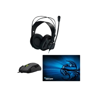 Roccat RENGA+KOVA+MP Renga headset  Kova mouse and Sense Mousepad bundle - Headset - full size - with  Kova mouse and Sense mouse pad
