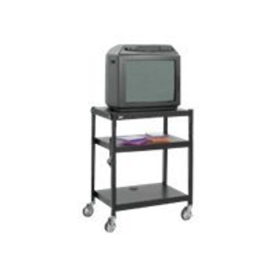 Safco Products Company 8932BL Adjustable-Height Cart  Steel  Black