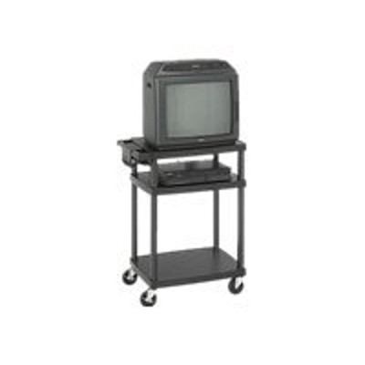 Safco Products Company 8933BL Adjustable AV/TV Cart  Plastic  Black