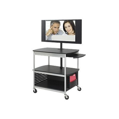 Safco Products Company 8940BL Scoot Open Flat Panel Multimedia Cart  Black