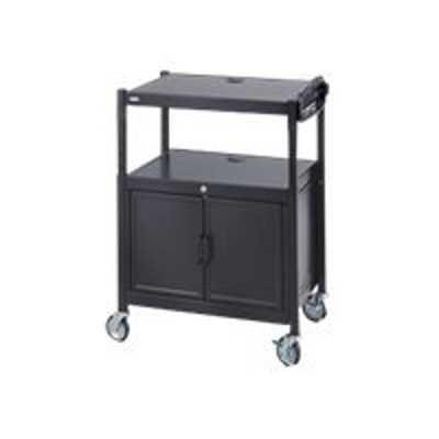 Safco Products Company 8943BL Adjustable AV Cart with Cabinet  Steel  Black