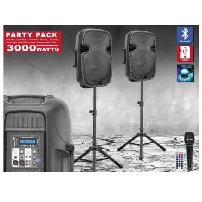 Technical Pro SYSTEM7000 15 BT Speaker Package with Tripod Stand Light  Mic and Cables