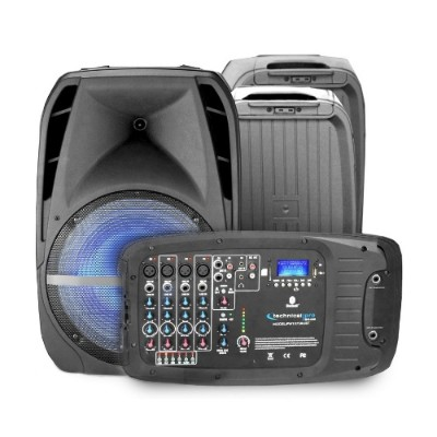 Technical Pro PW1075LXBT PA LED Speaker Set with Powered MixerandStrg Compartment